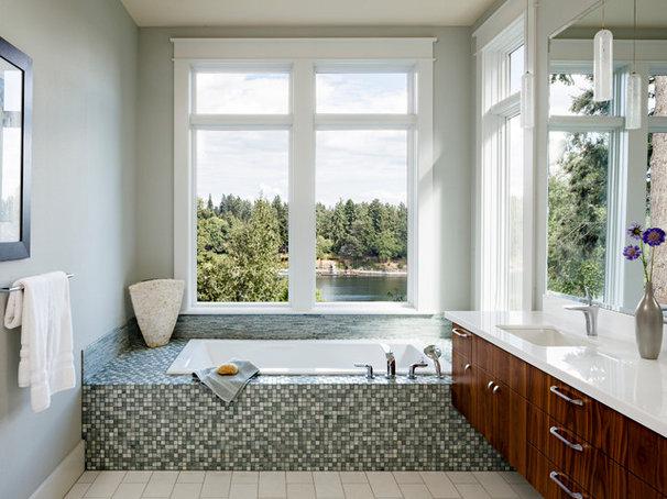 Transitional Bathroom by Jenni Leasia Design