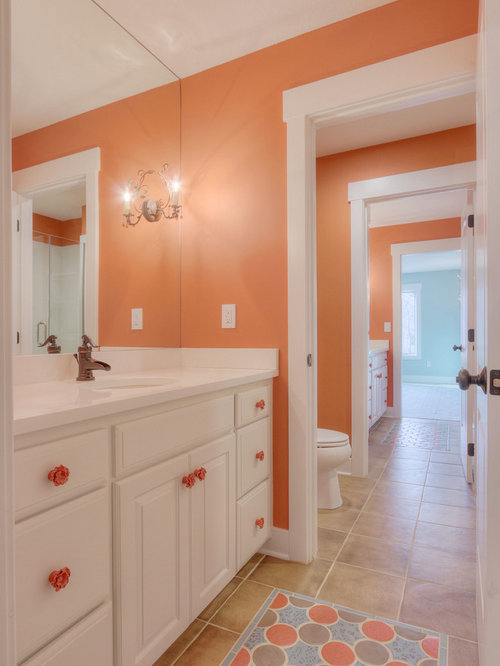 Coastal bathroom design ideas renovations photos with for Bathroom ideas with red walls