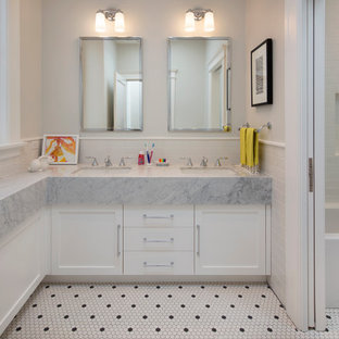 Transitional white tile and subway tile mosaic tile floor, white floor and double-sink bathroom photo in San Francisco with shaker cabinets, white cabinets, gray walls, an undermount sink and gray countertops