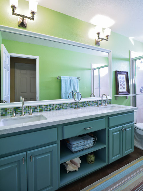 Example Of A Mid Sized Classic 3/4 Multicolored Tile Concrete Floor Alcove  Shower