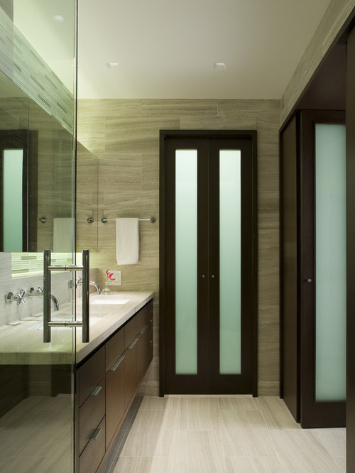 Frosted glass closet doors houzz inspiration for a mid sized contemporary master beige tile bathroom remodel in chicago with an planetlyrics