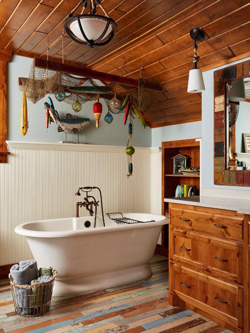 rustic bathroom. Mid sized mountain style master blue tile multicolored floor and painted  wood freestanding bathtub Top 100 Rustic Bathroom Ideas Houzz
