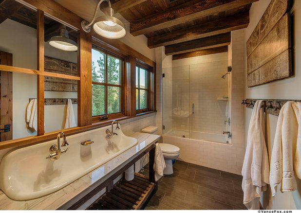 Transitional Bathroom by Heslin Construction