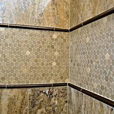 Farmhouse Bathroom by Kristy Mastrandonas Interior Design & Styling