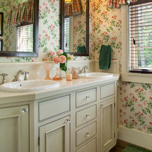 Example Of A Clic Beige Tile Bathroom Design In Other With Drop Sink