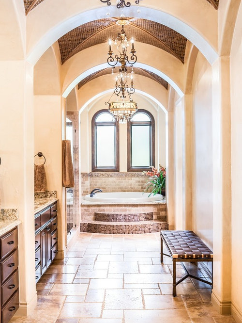 Drop In Bathtub   Mediterranean Beige Tile Drop In Bathtub Idea In Houston  With