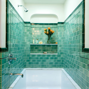 Medium sized mediterranean ensuite bathroom in Los Angeles with a submerged bath, a shower/bath combination, green tiles, ceramic tiles, beige walls and an open shower.