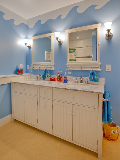 Inspiration For A Timeless Kidsu0027 Bathroom Remodel In Seattle With Marble  Countertops And Blue Walls