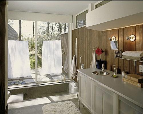 badezimmer mit laminat waschtisch und betonboden ideen f r die badgestaltung houzz. Black Bedroom Furniture Sets. Home Design Ideas
