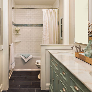 bathroom mid sized traditional white tile and subway tile slate floor bathroom idea in - Green Bathroom Idea