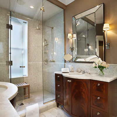 Bathroom - traditional bathroom idea in Chicago with furniture-like cabinets