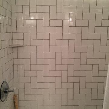 Lakewood Bathroom Modern Remodel Herringbone Subway