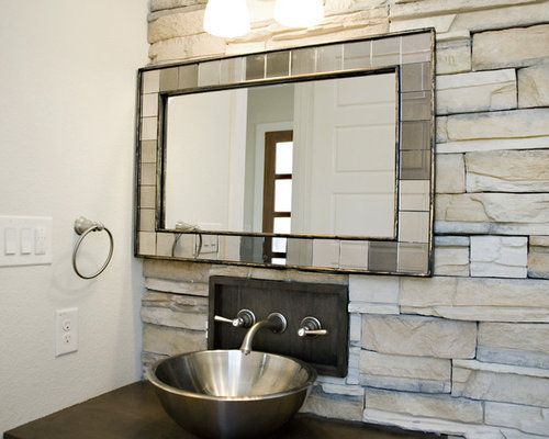 SaveEmail. Mirror On Stone Wall Design Ideas   Remodel Pictures   Houzz
