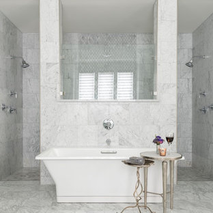 Transitional master gray tile and marble tile marble floor and gray floor bathroom photo in Dallas with shaker cabinets, white cabinets, gray walls and marble countertops