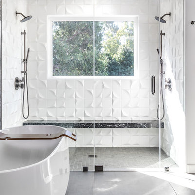 Inspiration for a contemporary master black tile and white tile gray floor bathroom remodel in Sacramento with white walls and a hinged shower door
