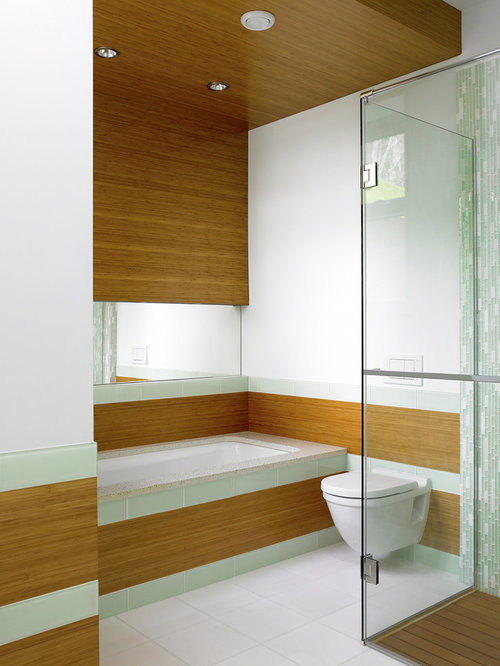 trendy walk in shower photo in vancouver with a wall mount toilet - Bamboo Bathroom Design