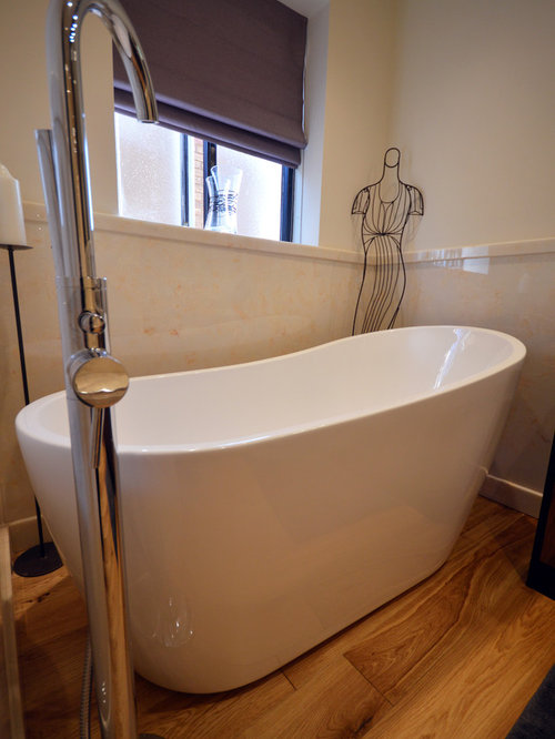 Walk-In Shower Design Photos with Furniture-Like Cabinets and Light ...