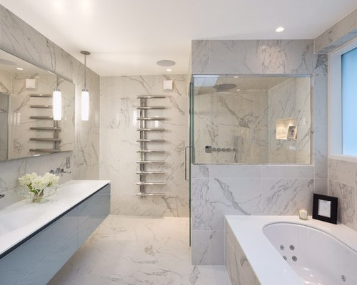 Contemporary Master Marble Tile Bathroom Idea In London With A Wall Mount  Sink, Flat