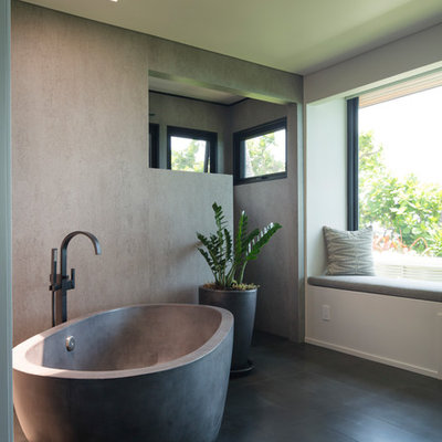 Inspiration for a contemporary gray floor freestanding bathtub remodel in Hawaii with gray walls