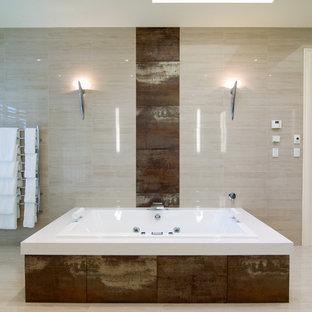 Drop-in bathtub - modern brown tile drop-in bathtub idea in Melbourne