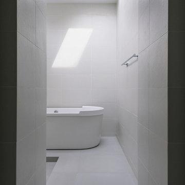 large format tile at master bath spa retreat