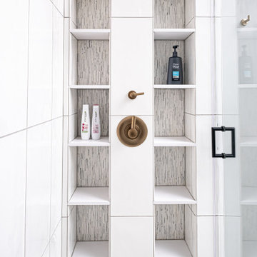 Large shower with Niche Shelves and Floating Bench