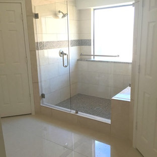 Large traditional walk in shower with bench