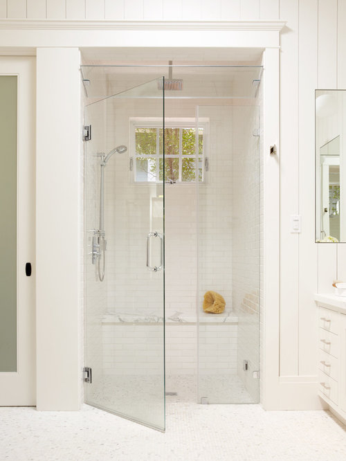 Elegant White Tile And Subway Mosaic Floor Walk In Shower Photo San