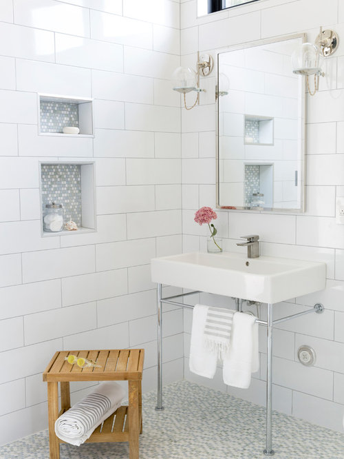 Example Of A Mid Sized Trendy 3/4 White Tile And Porcelain Tile Mosaic