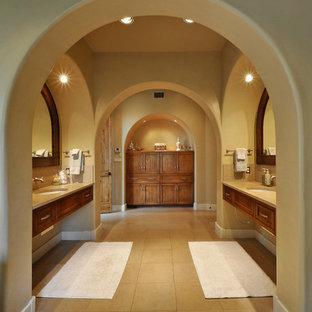 Imagen de cuarto de baño actual con lavabo bajoencimera, armarios con paneles empotrados y puertas de armario de madera oscura