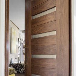 """Las Vegas Modern Home - Interior Solid Wood Walnut Door with Leather - TruStile Modern Door Collection - TM13340 in Walnut with Edelman Leather and 1/8"""" radius reveal."""