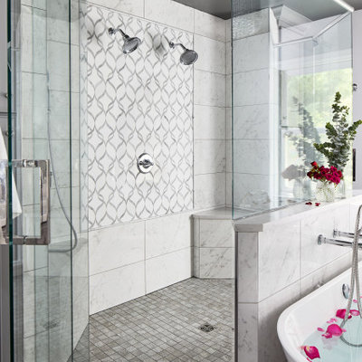 Large transitional master porcelain tile porcelain tile and gray floor bathroom photo in DC Metro with gray walls