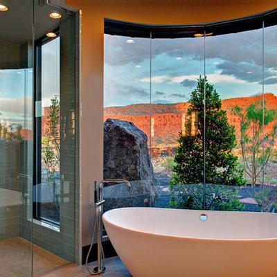 Bathroom - contemporary blue tile and glass tile bathroom idea in Salt Lake City