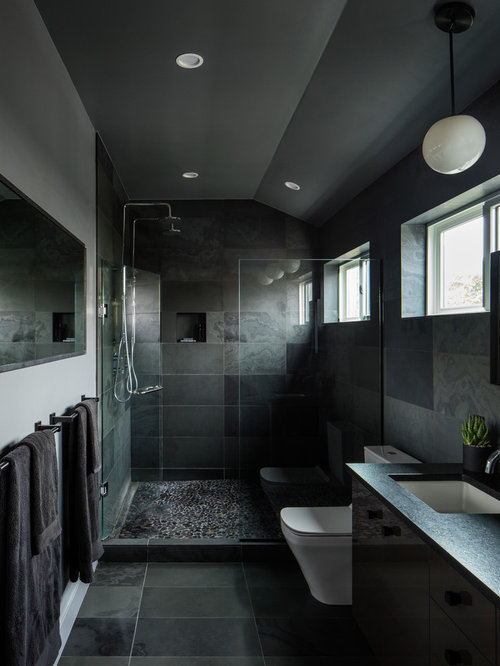 example of a mid sized minimalist master black tile and slate tile porcelain floor and