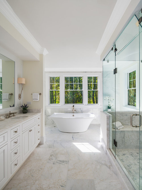 Freestanding bathtub - large traditional master white tile and marble tile  marble floor and white floor