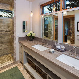 Alcove shower - contemporary master brown tile ceramic floor alcove shower idea in Other with gray cabinets, white walls, an undermount sink and open cabinets