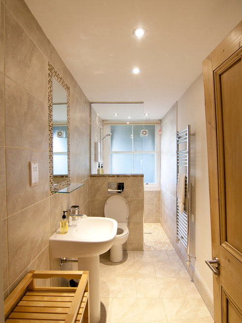 Narrow ensuite houzz for Contemporary ensuite bathroom design ideas