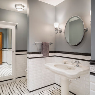 Inspiration for a timeless white tile and subway tile bathroom remodel in Kansas City with a pedestal sink