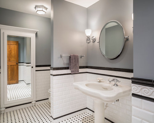 Inspiration For A Timeless White Tile And Subway Bathroom Remodel In Kansas City With