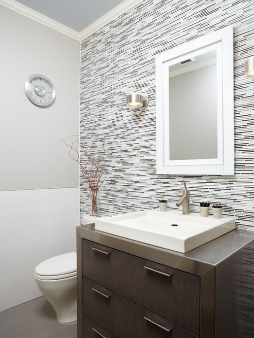 Half Bathroom Prepossessing Half Bath Tile  Houzz Design Decoration