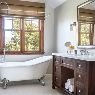 Mid-sized arts and crafts master white tile and mosaic tile mosaic tile floor bathroom photo in Santa Barbara with dark wood cabinets, gray walls, an undermount sink, recessed-panel cabinets, a two-piece toilet and marble countertops