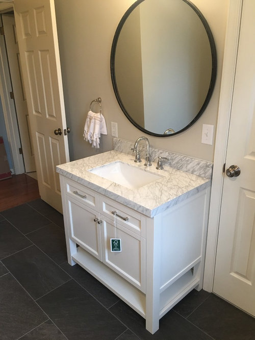 Example Of A Mid Sized Classic   Porcelain Tile And Gray Tile Porcelain