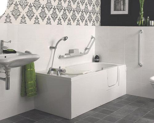 Stanza da bagno contemporanea con pavimento in linoleum for Piastrelle linoleum bagno