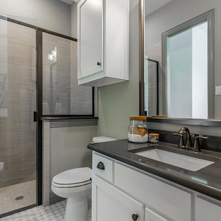 Inspiration for a transitional 3/4 mosaic tile floor and white floor alcove shower remodel in Dallas with shaker cabinets, white cabinets, a two-piece toilet, an undermount sink, a hinged shower door and gray countertops