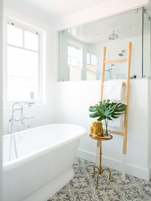 Large coastal master bathroom photo in Orange County with shaker cabinets  and white cabinets. 10 Best Beach Style Bathroom Ideas   Houzz