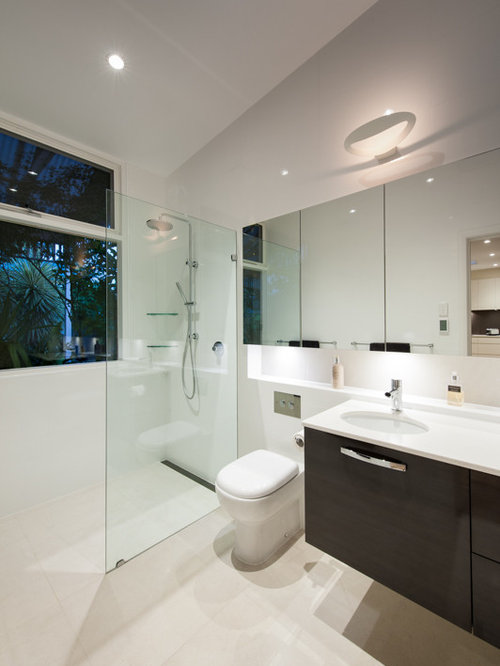 Inspiration For A Small Modern Master Doorless Shower Remodel In Adelaide  With An Undermount Sink, Photo Gallery