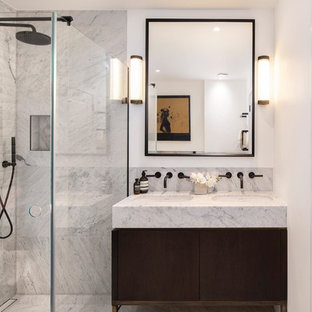 Inspiration for a contemporary shower room in Gloucestershire with flat-panel cabinets, dark wood cabinets, a corner shower, white walls, a submerged sink and a hinged door.