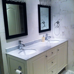 "Lily 63"" White Vanity with Espresso Mirrors -"