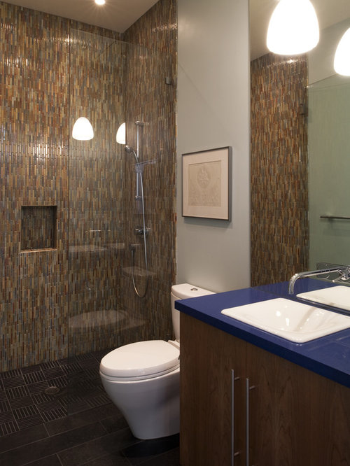Design Ideas For A Contemporary Bathroom In San Francisco With Mosaic Tile  And An Open Shower