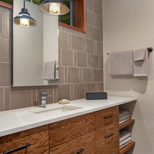 75 Beautiful Medium Tone Wood Floor Bathroom With White
